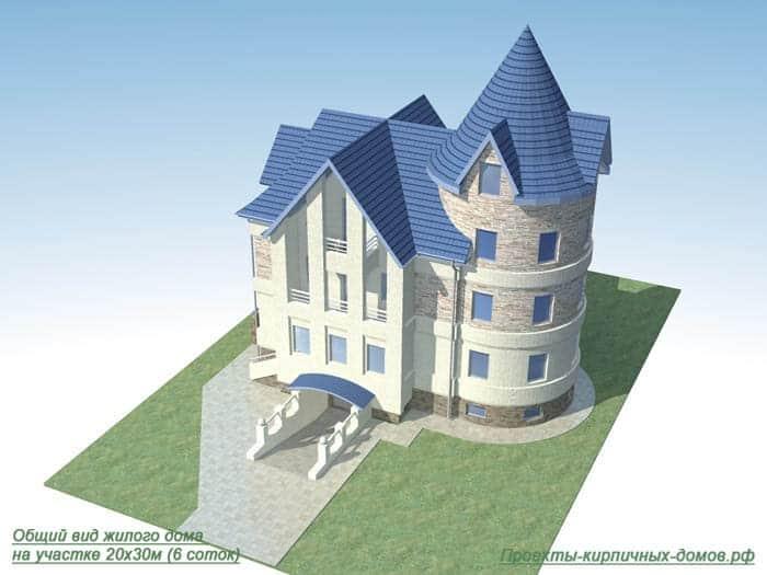 Четырехэтажный дом с башней