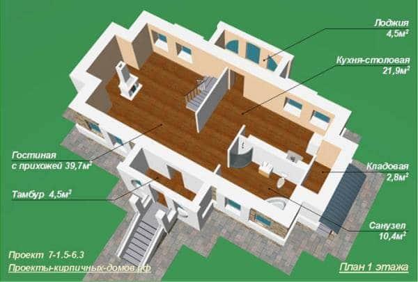 3Д Проект первого этажа