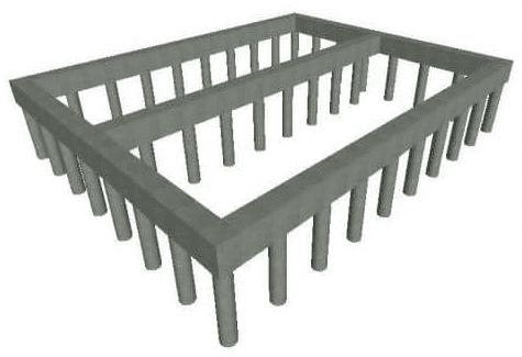 Схема конструкции буронабивного фундамента