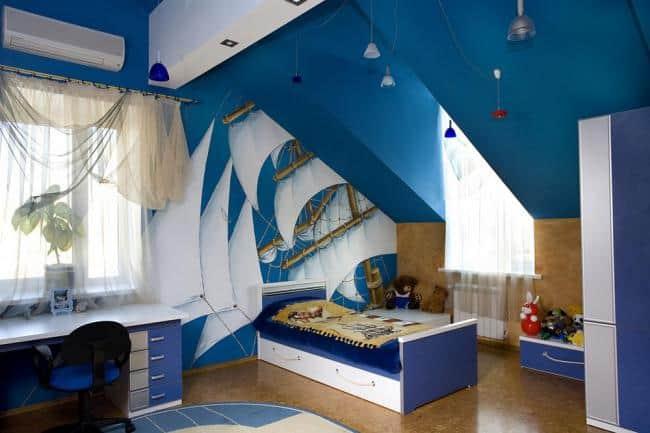 Интерьер детской на мансардном этаже