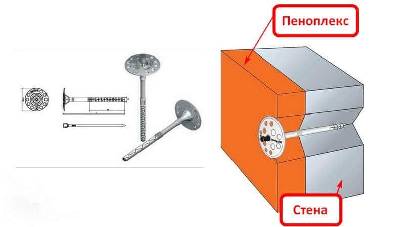 Пластиковые «зонтики» вставляют в высверленные отверстия и забивают молотком вровень с утеплителем