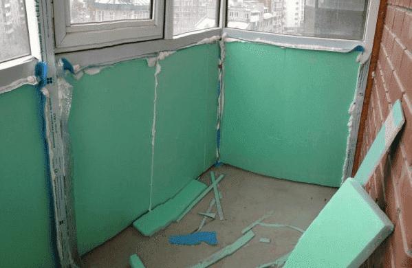 Как утеплить балкон изнутри стиродуром