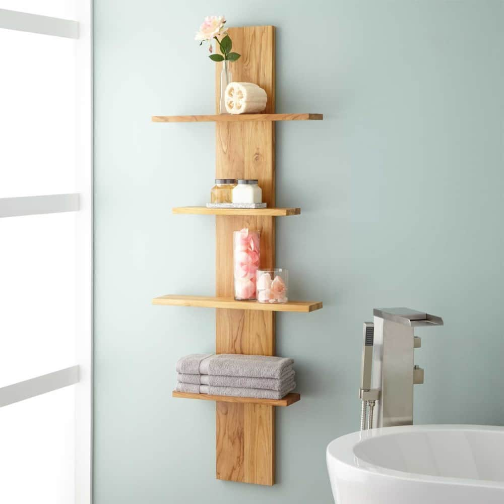 Полка из дерева в ванную комнату фото