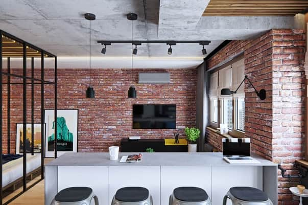 Бетонный потолок в интерьере квартиры