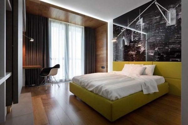 Яркий дизайн интерьера в спальне